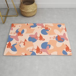 Flamingo and leaves pattern coral blue Rug