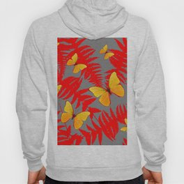 Red Fern Fronds With Yellow Butterflies & Grey Color Hoody
