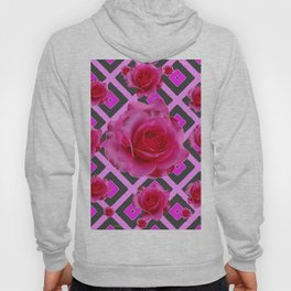 Charcoal-pink Grey Fuchsia Pink Roses  Patterns Hoody