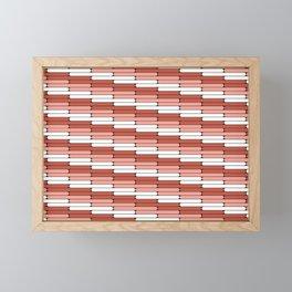 Staggered Oblong Rounded Lines Pantone Living Coral Illustration Framed Mini Art Print