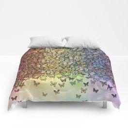 rainbow of butterflies aflutter Comforters