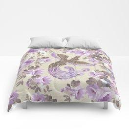 Phoenix Bird with watercolor flowers Comforters