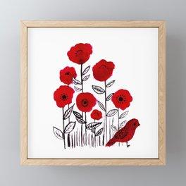 Tall poppies and red bird Framed Mini Art Print