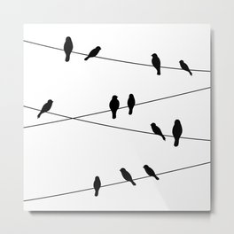 Birds on a line in Black Metal Print