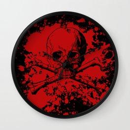 Skull and Crossbones Splatter Pattern Wall Clock