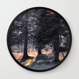 Fall Sunset in the Northwoods Wall Clock