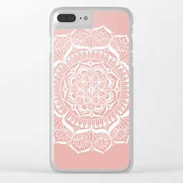 White Flower Mandala on Rose Gold Clear iPhone Case