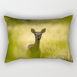Keeping Tabs - Watchful Young Deer Through Tree Leaves in Wyoming Rectangular Pillow