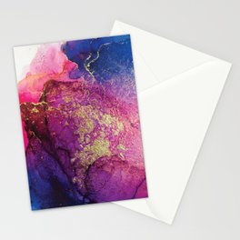 Pink, Gold and Blue Explosion Painting Stationery Cards