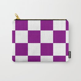 Large Checkered - White and Purple Violet Carry-All Pouch