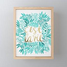 That's Life – Turquoise & Gold Framed Mini Art Print