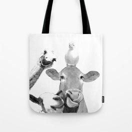 Black and White Farm Animal Friends Tote Bag