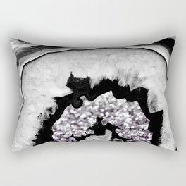 Gray Black White Agate with Purple Black Silver Glitter #1 #gem #decor #art #society6 Rectangular Pillow
