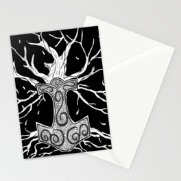 Yggdrasil, the Tree  of Nine Worlds, and  Mjolnir, the Hammer of Thor Stationery Cards