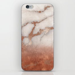 Shiny Copper Metal Foil Gold Ombre Bohemian Marble iPhone Skin