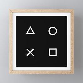 Gamer Pattern (White on Black) Framed Mini Art Print