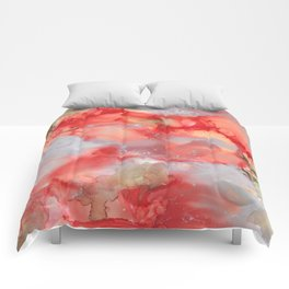 Alcohol Ink 'Big Red' Comforters