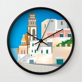 Amalfi Coast, Italy - Skyline Illustration by Loose Petals Wall Clock