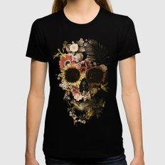 Garden Skull Light MEDIUM Womens Fitted Tee Black