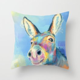 Carefree Donkey - Digital and Colorful Animal Illustration Throw Pillow