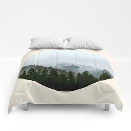 Pine Trees & Snow Mountains Circle Photo Comforters