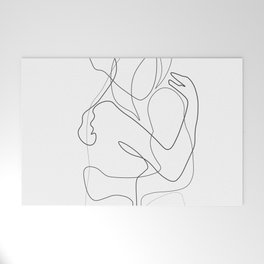 Lovers - Minimal Line Drawing Welcome Mat