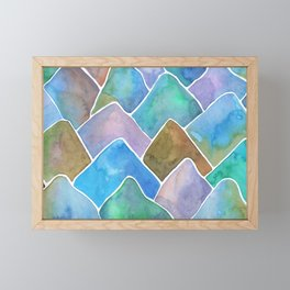 Summer Haze Purple Watercolour Mountains Framed Mini Art Print