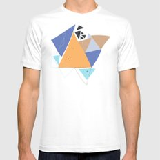 Exploding Triangles//One MEDIUM Mens Fitted Tee White