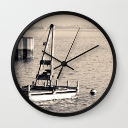 New York's Hudson River - Sepia-toned Photography Wall Clock