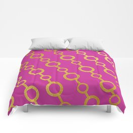 Gold chains on fuchsia Comforters