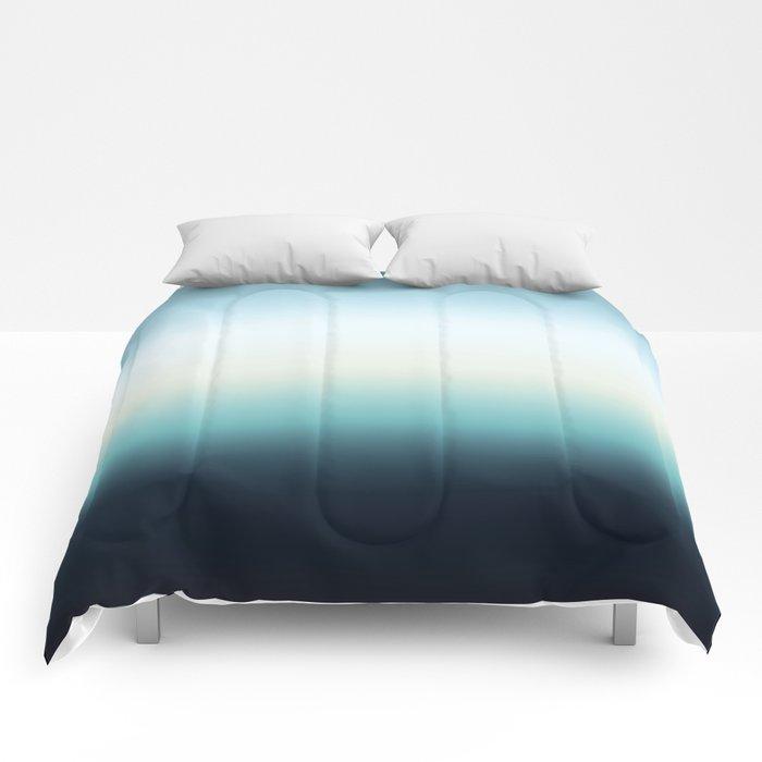 ocean sky color gradient  - blue , white , black Comforters