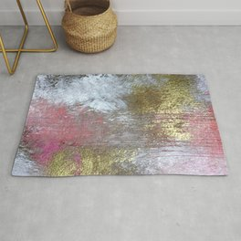 Golden Girl: a pretty abstract mixed media piece in pink, white, gold, and gray Rug