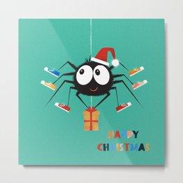 Happy Christmas Santa Spider Metal Print