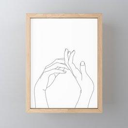 Hands line drawing illustration - Abi Framed Mini Art Print