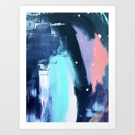 Playful [3]: a bold abstract piece in vibrant blues, pink, purple and white Art Print