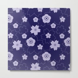 Sakura blossom - midnight blue Metal Print