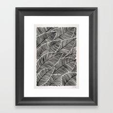 Tropical Palm Leaves – Black Palette Framed Art Print