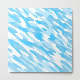 Blue and white Camo anstract Metal Print