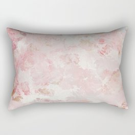 Vintage Floral Rose Roses painterly pattern in pink Rectangular Pillow