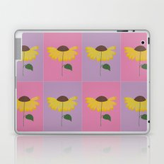 Yellow flower pattern on a pink and lilac background Laptop & iPad Skin