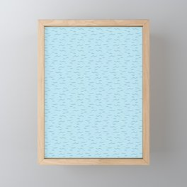 Cute light blue ocean waves cartoon seamless pattern. Framed Mini Art Print
