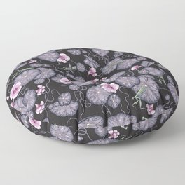 Black Indian cress garden. Floor Pillow