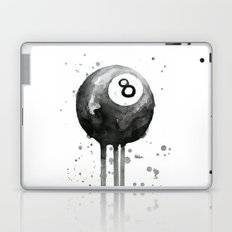 8-Ball Watercolor Black Pool Billiards Eight Ball Art Laptop & iPad Skin