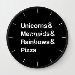 Unicorns & Mermaids & Rainbows & Pizza Wall Clock