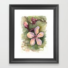 Cherry Blossom Watercolor Painting | Spring Flowers Framed Art Print
