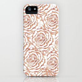 Elegant romantic rose gold roses pattern image iPhone Case
