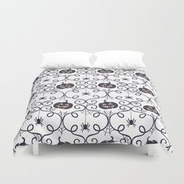 happy hallowen curves and pumkins pattern Duvet Cover