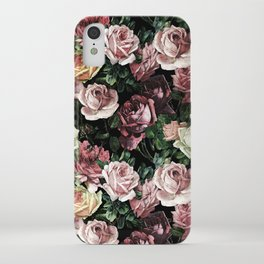 Vintage & Shabby chic - dark retro floral roses pattern iPhone Case