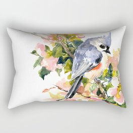 Titmouse Bird and Spring Blossom, floral pink green spring colors Rectangular Pillow