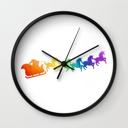 Santa's Unicorns Wall Clock